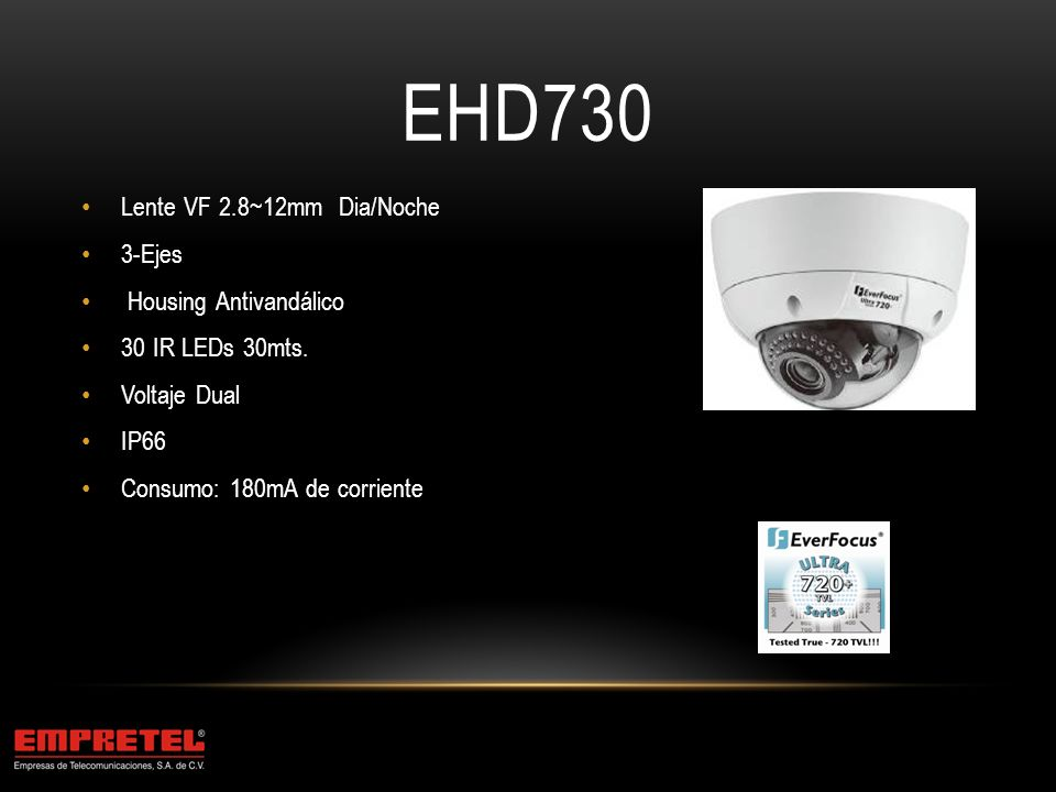EHD730 Lente VF 2.8~12mm Dia/Noche 3-Ejes Housing Antivandálico