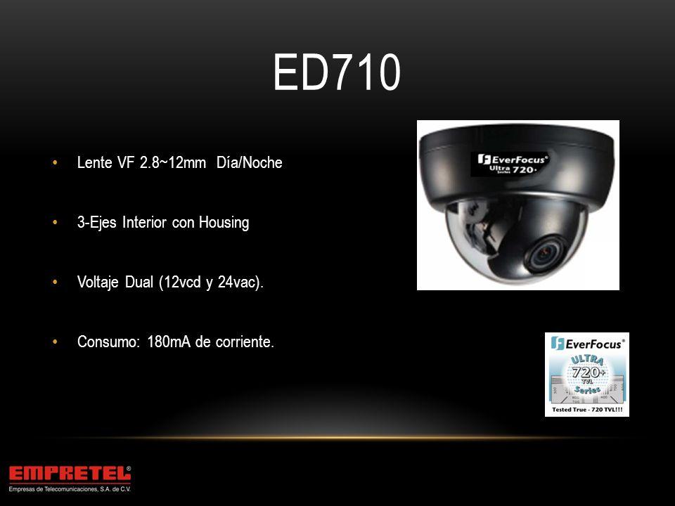 ED710 Lente VF 2.8~12mm Día/Noche 3-Ejes Interior con Housing