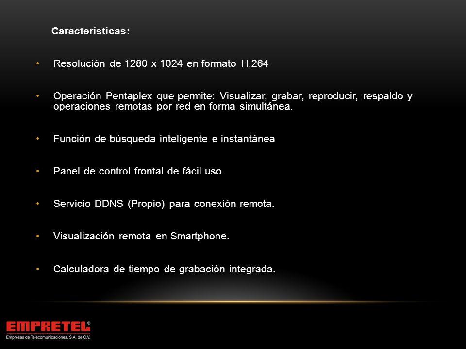 Características: Resolución de 1280 x 1024 en formato H.264.