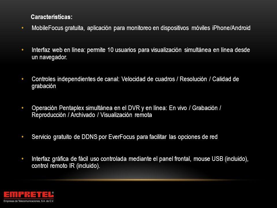 Características: MobileFocus gratuita, aplicación para monitoreo en dispositivos móviles iPhone/Android.