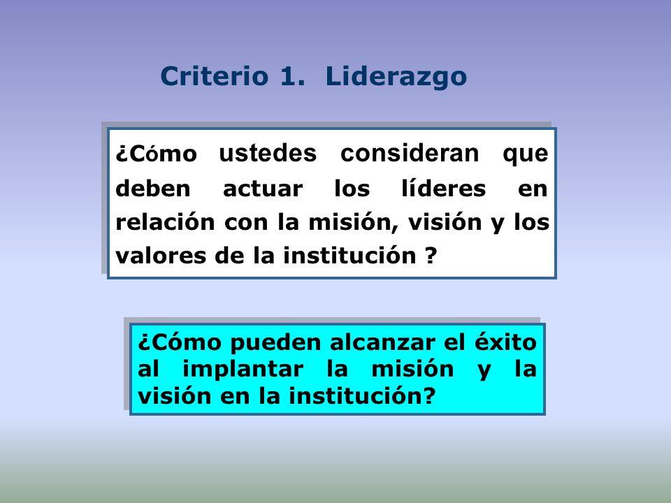 Criterio 1. Liderazgo ¿Cómo ustedes consideran que deben actuar los líderes en relación con la misión, visión y los valores de la institución