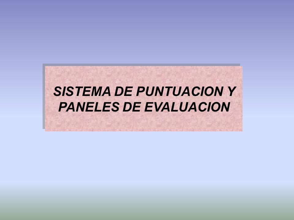 SISTEMA DE PUNTUACION Y PANELES DE EVALUACION
