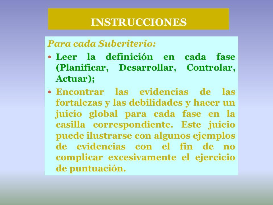 INSTRUCCIONES Para cada Subcriterio:
