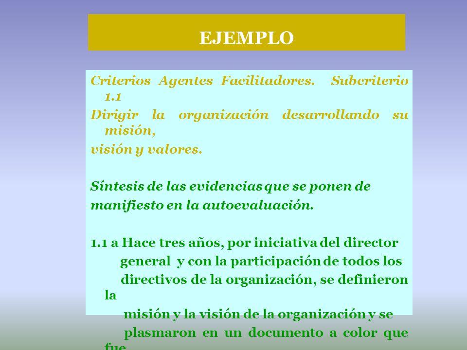 EJEMPLO Criterios Agentes Facilitadores. Subcriterio 1.1
