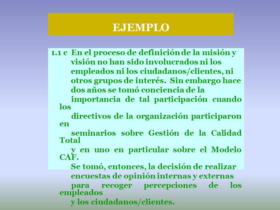 EJEMPLO 1.1 c En el proceso de definición de la misión y