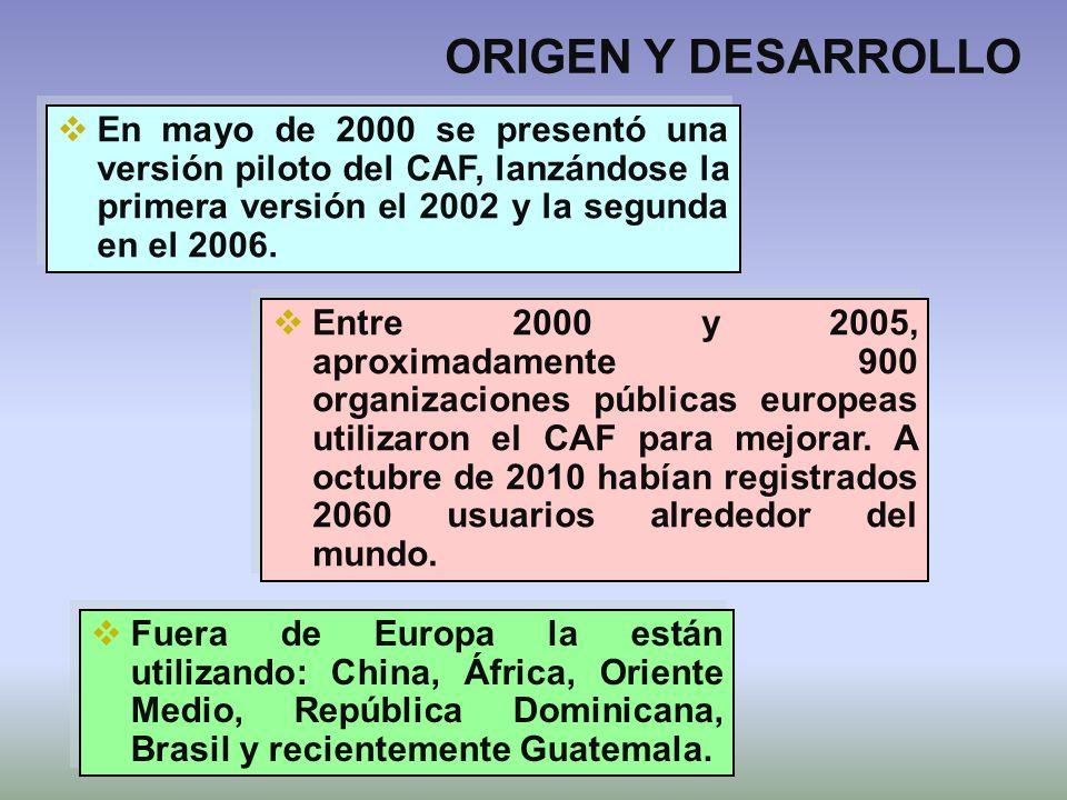 ORIGEN Y DESARROLLO En mayo de 2000 se presentó una versión piloto del CAF, lanzándose la primera versión el 2002 y la segunda en el 2006.