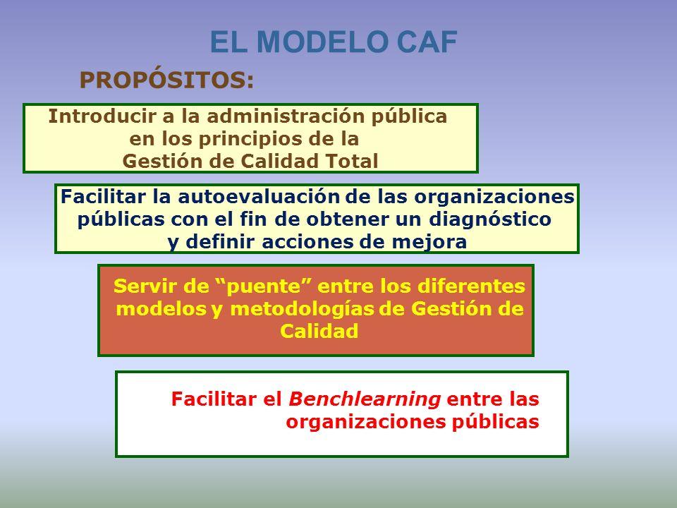 EL MODELO CAF PROPÓSITOS: Introducir a la administración pública