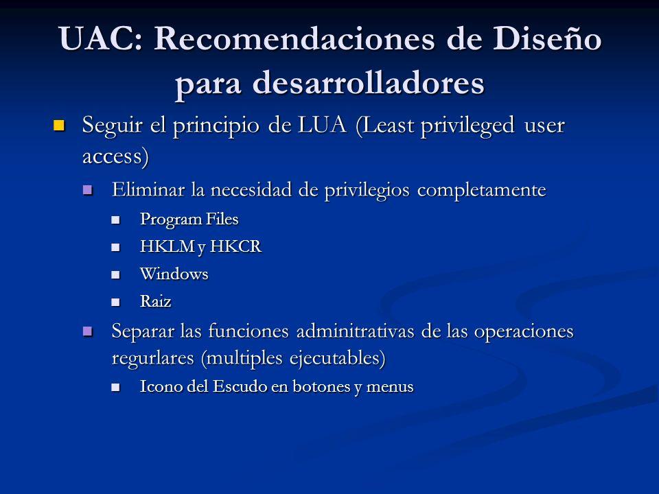 UAC: Recomendaciones de Diseño para desarrolladores