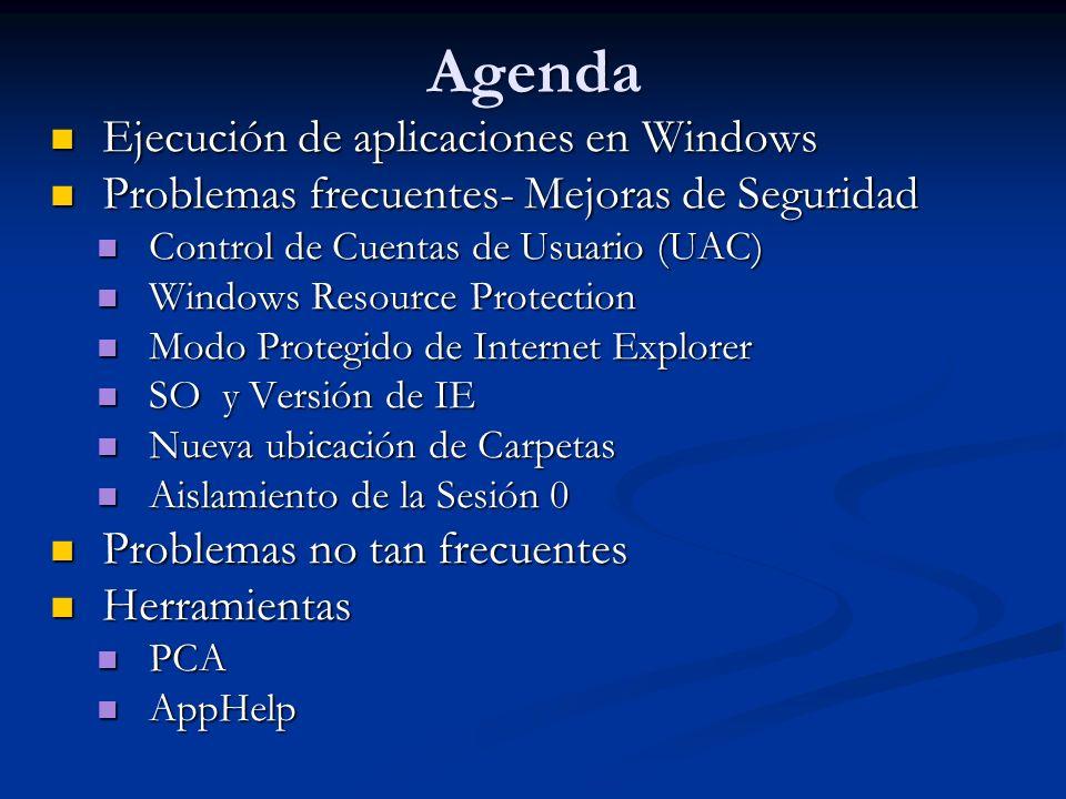 Agenda Ejecución de aplicaciones en Windows