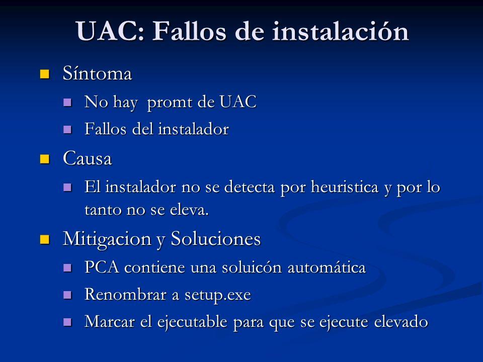 UAC: Fallos de instalación