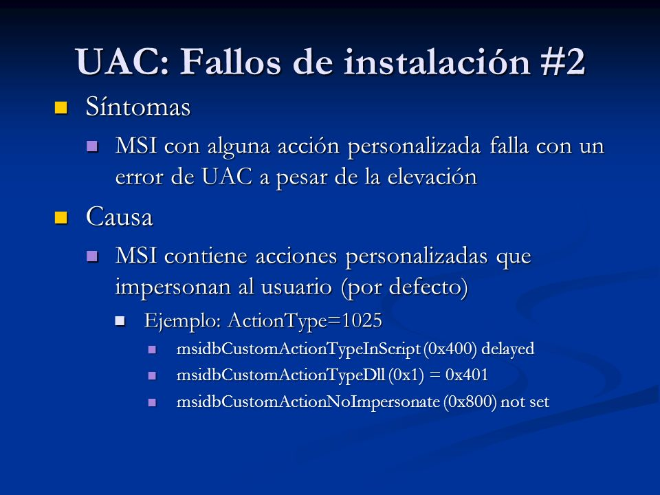 UAC: Fallos de instalación #2