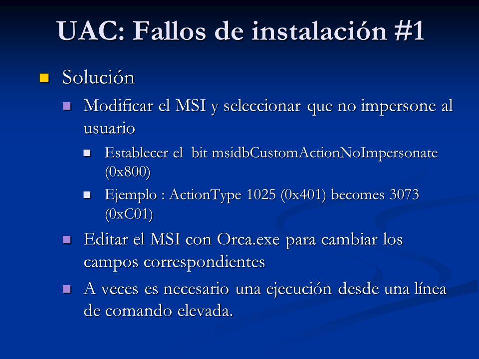 UAC: Fallos de instalación #1