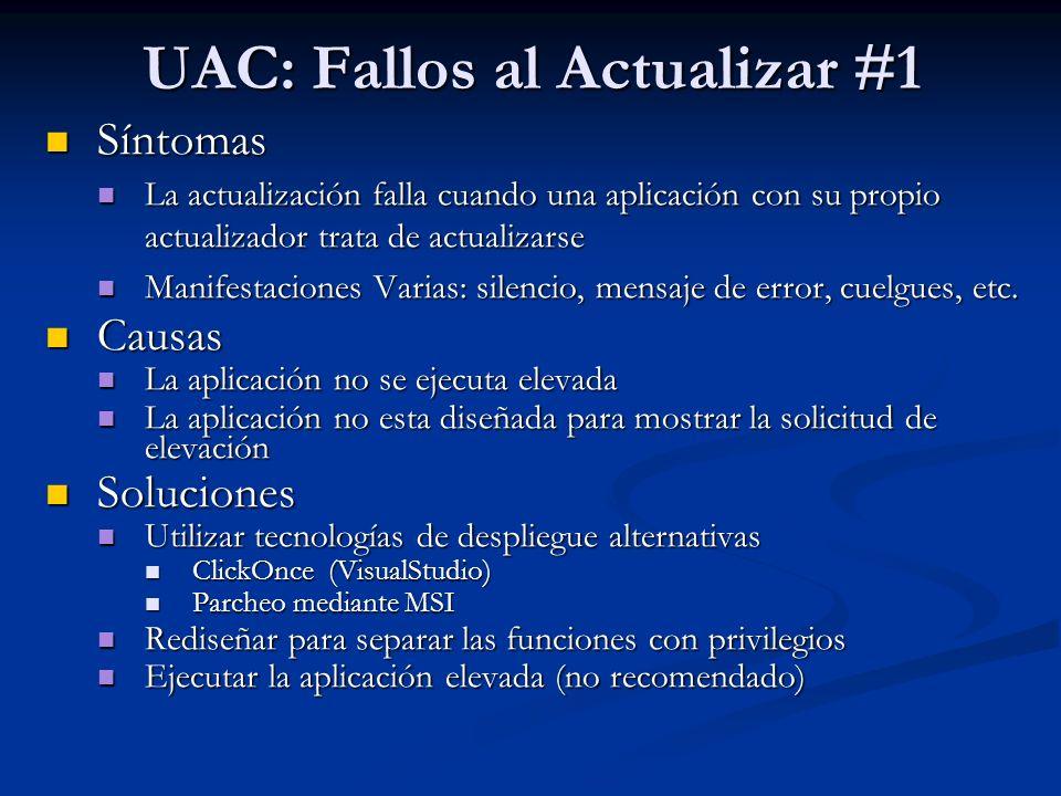 UAC: Fallos al Actualizar #1