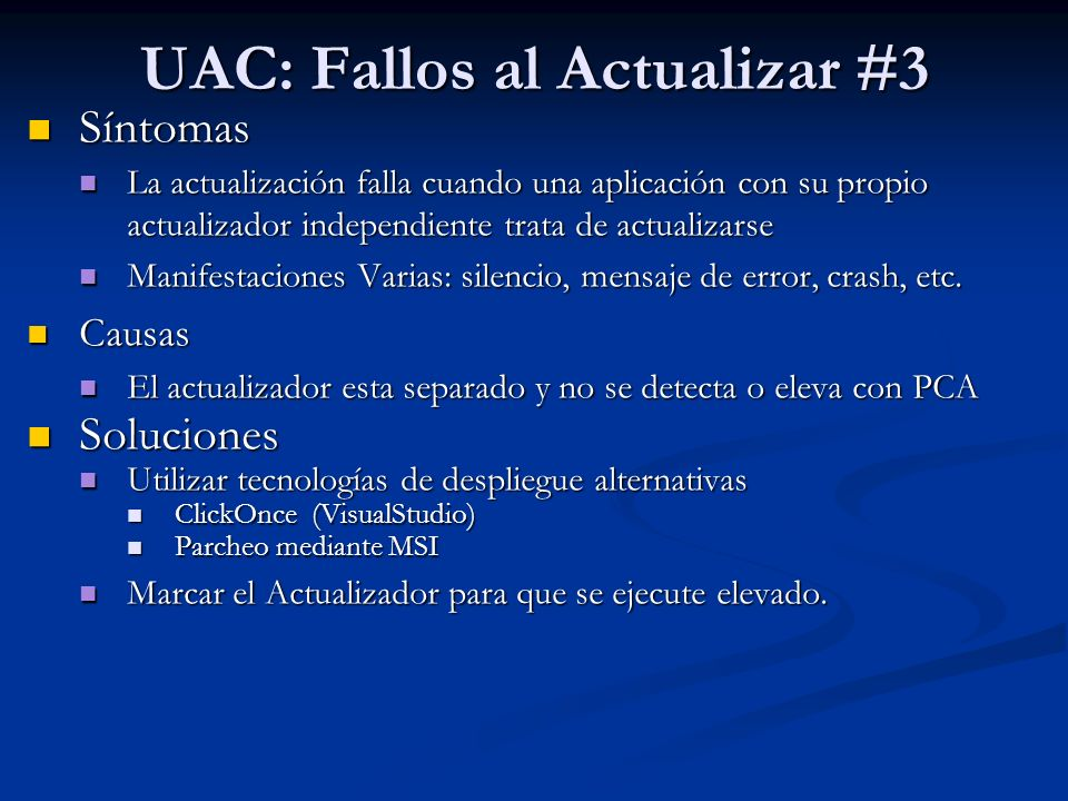 UAC: Fallos al Actualizar #3