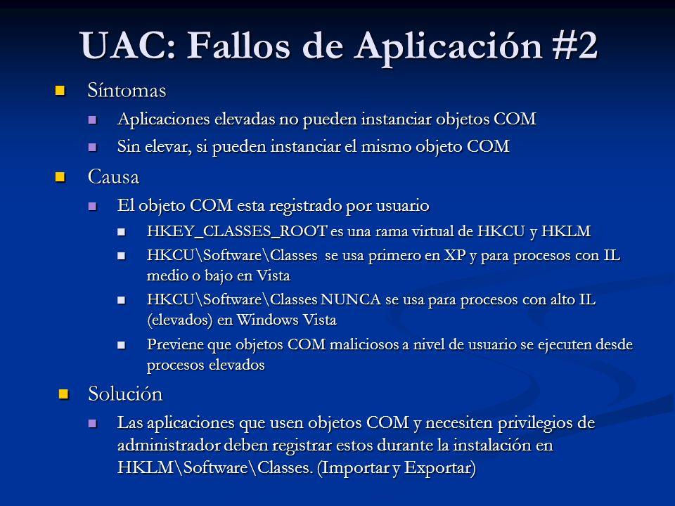 UAC: Fallos de Aplicación #2