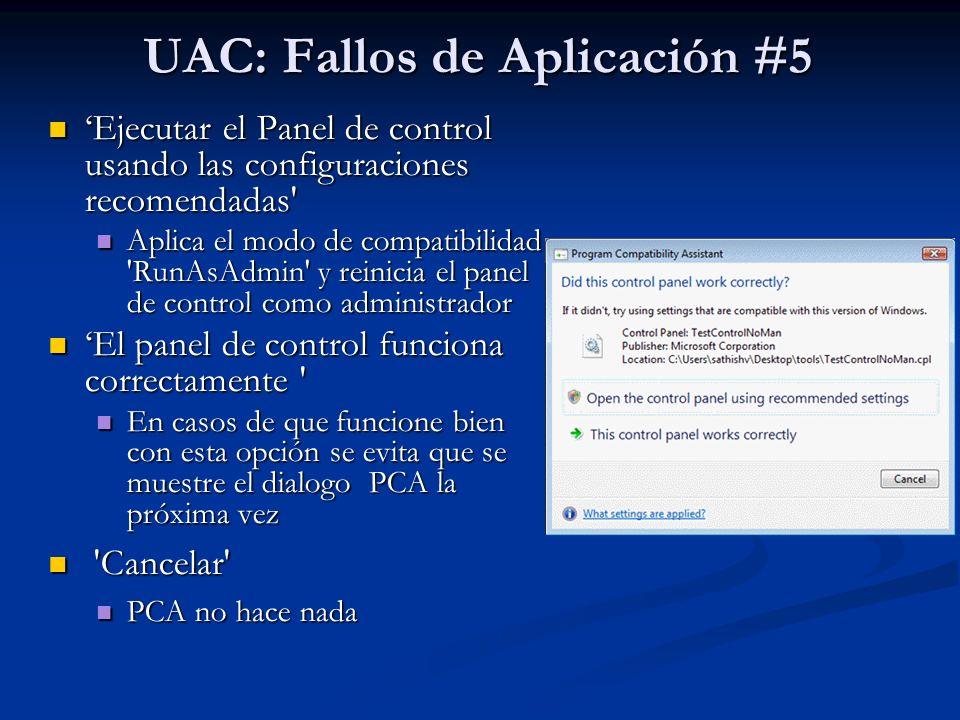 UAC: Fallos de Aplicación #5