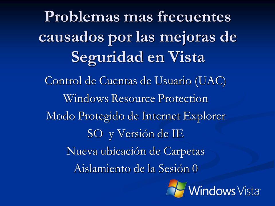 3/29/2017 8:38 PM Problemas mas frecuentes causados por las mejoras de Seguridad en Vista. Control de Cuentas de Usuario (UAC)