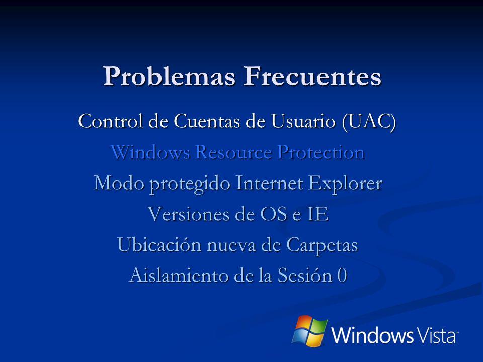 Problemas Frecuentes Control de Cuentas de Usuario (UAC)