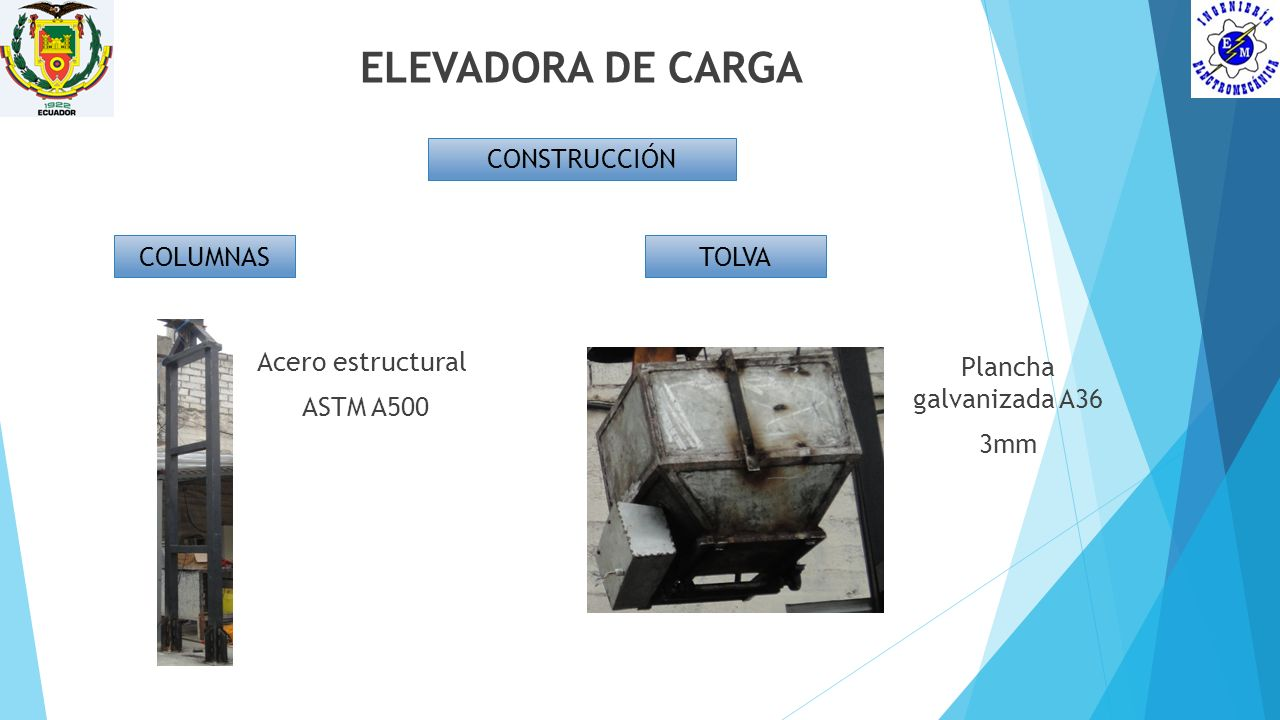 ELEVADORA DE CARGA CONSTRUCCIÓN COLUMNAS TOLVA Acero estructural