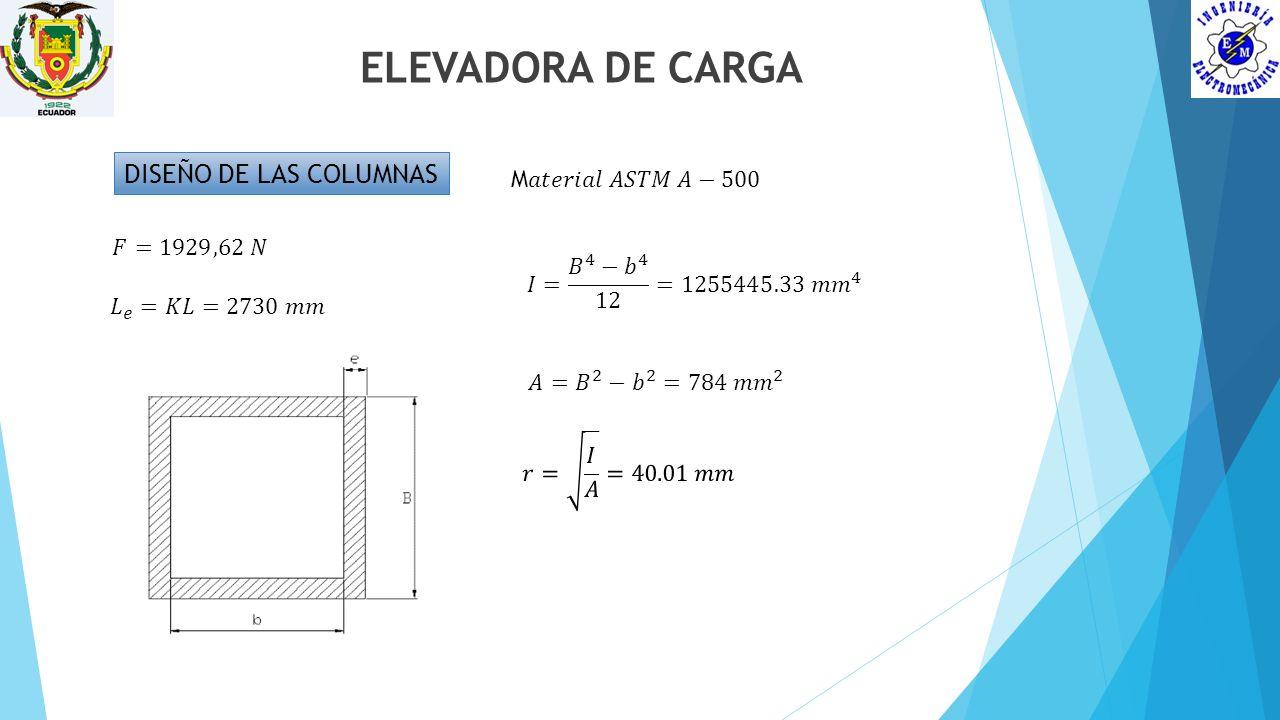 ELEVADORA DE CARGA DISEÑO DE LAS COLUMNAS M𝑎𝑡𝑒𝑟𝑖𝑎𝑙 𝐴𝑆𝑇𝑀 𝐴−500