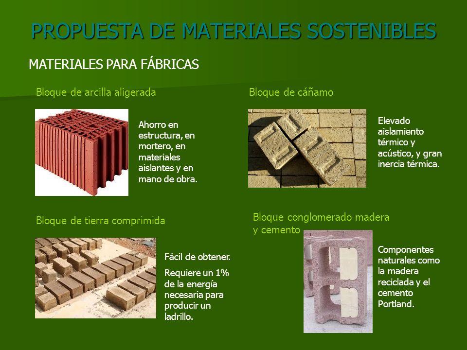 PROPUESTA DE MATERIALES SOSTENIBLES