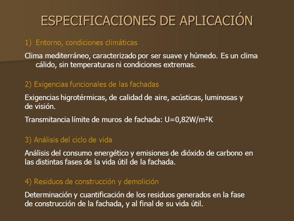 ESPECIFICACIONES DE APLICACIÓN