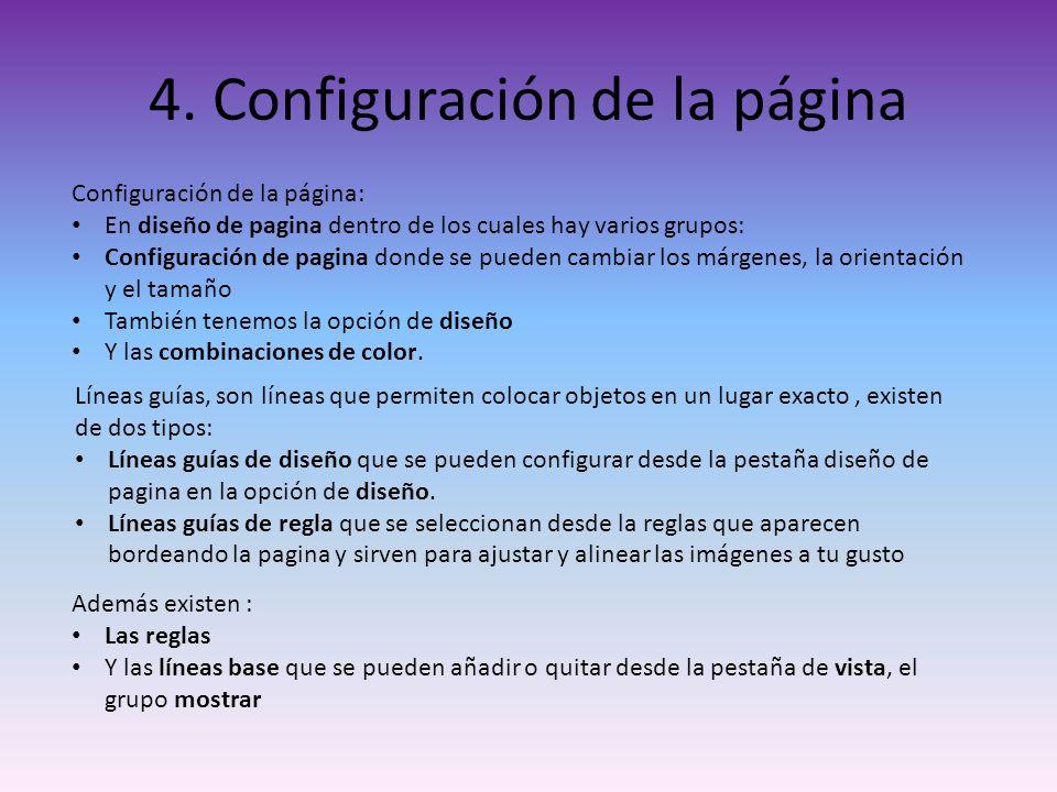 4. Configuración de la página