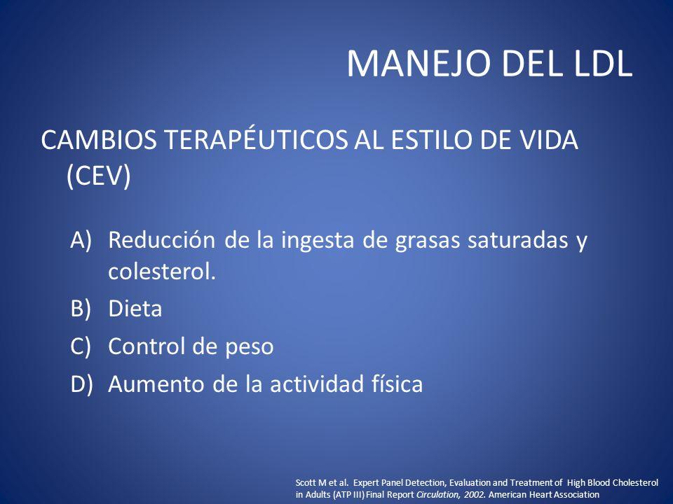 MANEJO DEL LDL CAMBIOS TERAPÉUTICOS AL ESTILO DE VIDA (CEV)