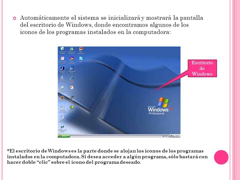 Automáticamente el sistema se inicializará y mostrará la pantalla del escritorio de Windows, donde encontramos algunos de los iconos de los programas instalados en la computadora: