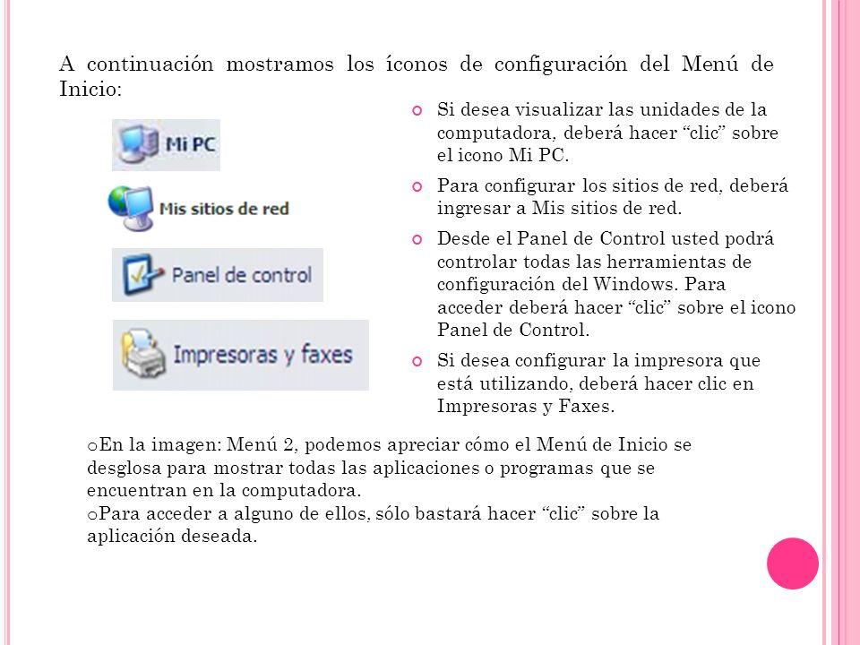 A continuación mostramos los íconos de configuración del Menú de Inicio: