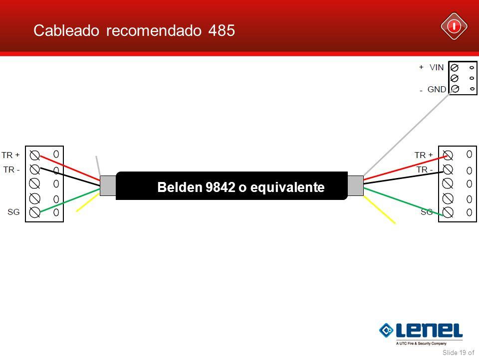 Cableado recomendado 485 Belden 9842 o equivalente