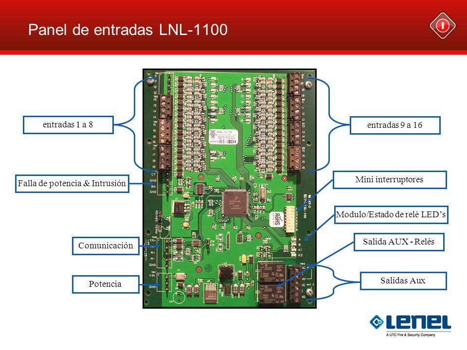 Panel de entradas LNL-1100 entradas 1 a 8 entradas 9 a 16