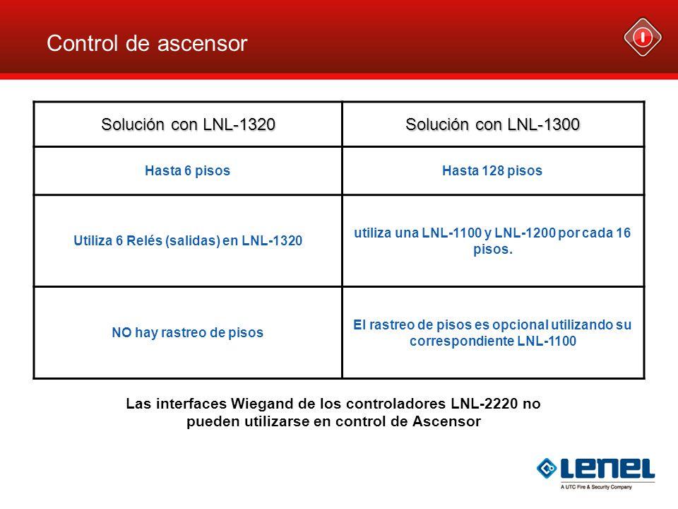 Control de ascensor Solución con LNL-1320 Solución con LNL-1300