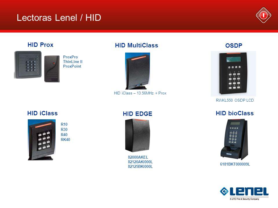 Lectoras Lenel / HID HID Prox HID MultiClass OSDP HID iClass HID EDGE