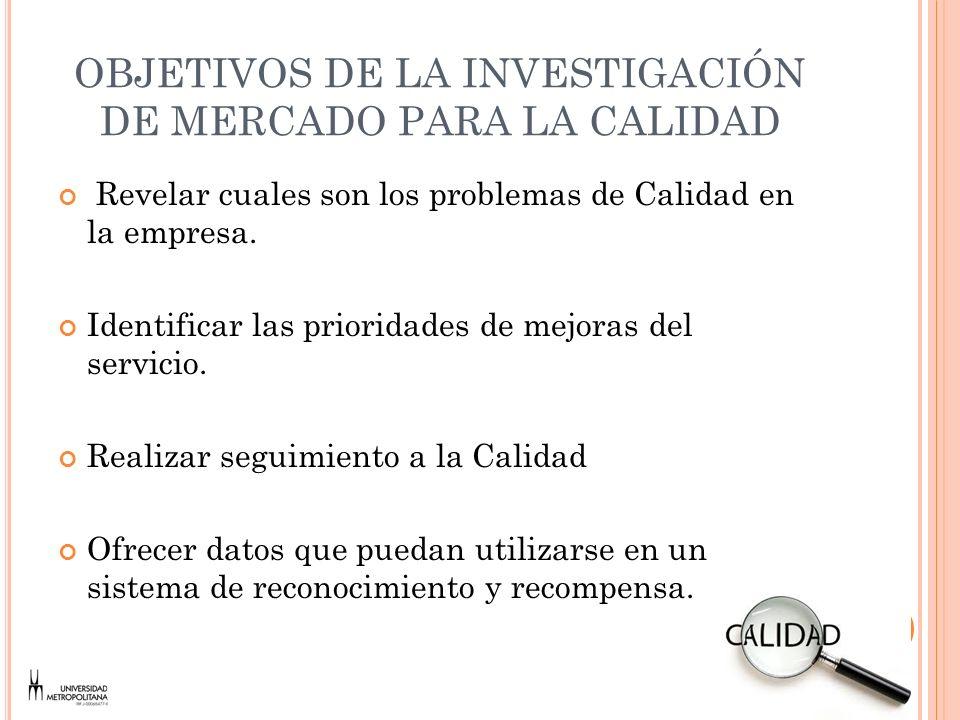 OBJETIVOS DE LA INVESTIGACIÓN DE MERCADO PARA LA CALIDAD
