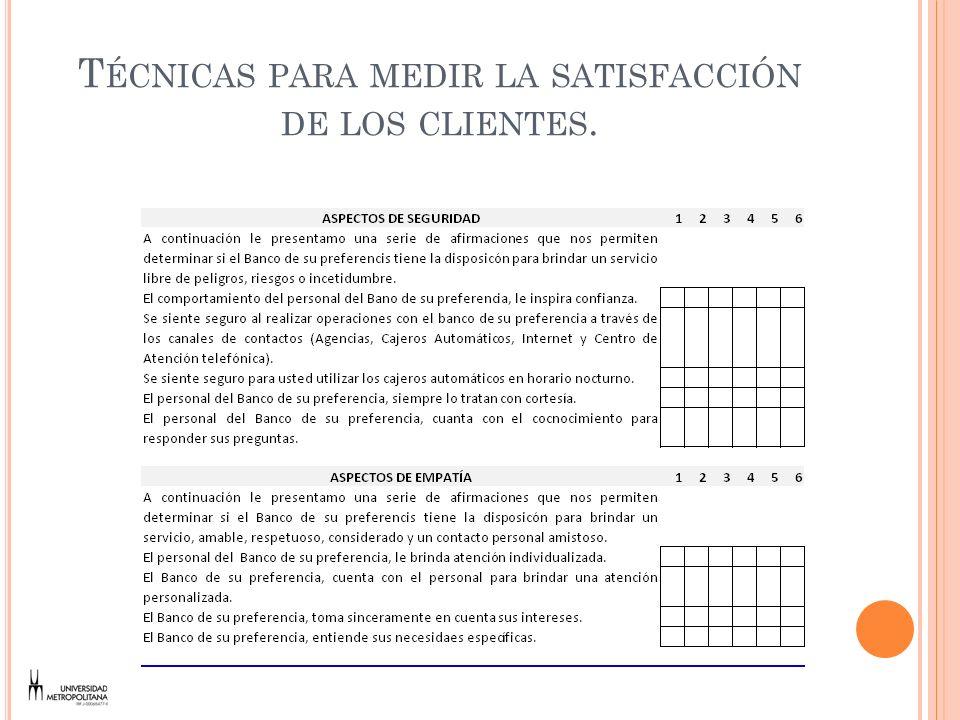 Técnicas para medir la satisfacción de los clientes.