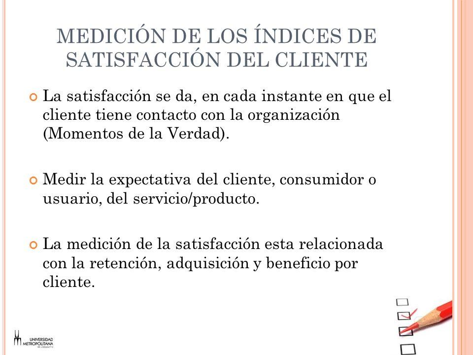 MEDICIÓN DE LOS ÍNDICES DE SATISFACCIÓN DEL CLIENTE