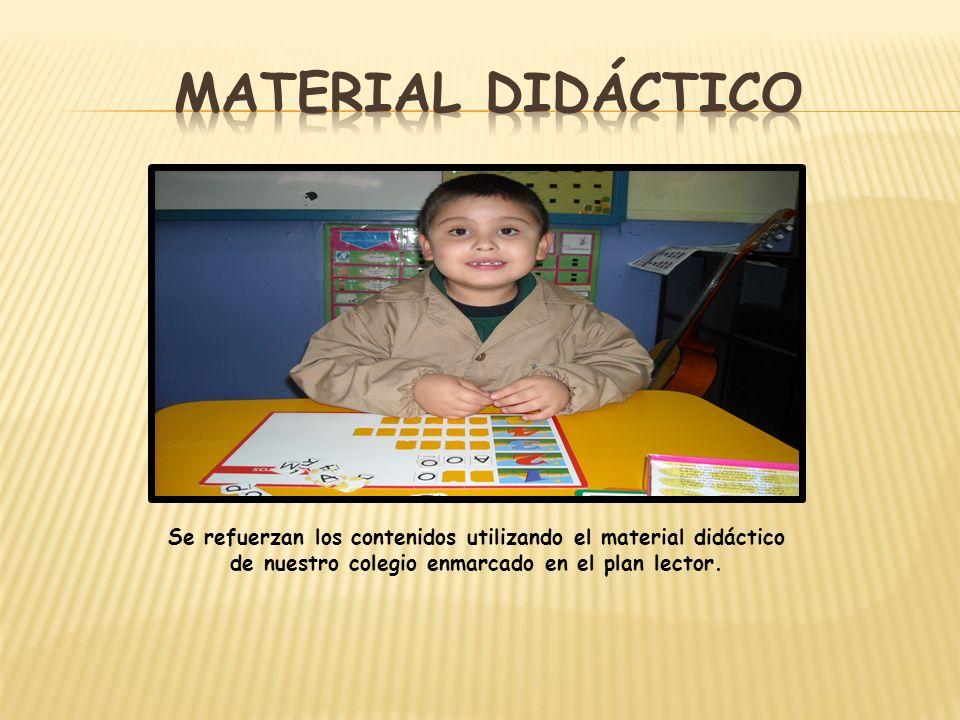 Material didáctico Se refuerzan los contenidos utilizando el material didáctico de nuestro colegio enmarcado en el plan lector.