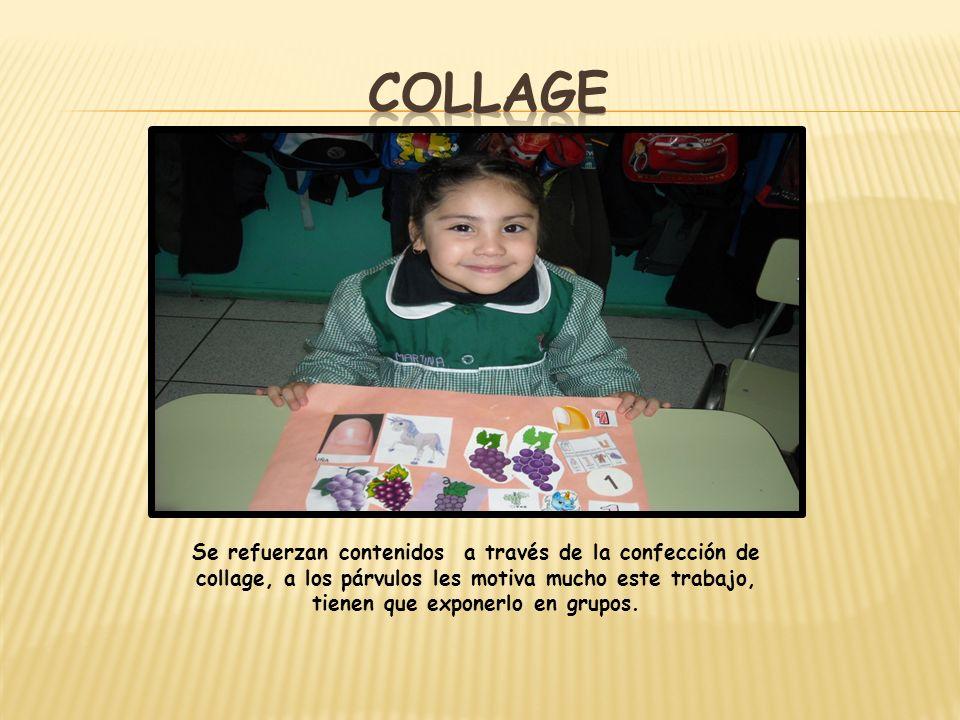 collage Se refuerzan contenidos a través de la confección de collage, a los párvulos les motiva mucho este trabajo, tienen que exponerlo en grupos.
