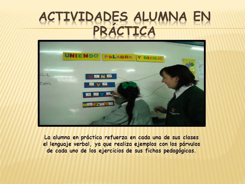 Actividades alumna en práctica