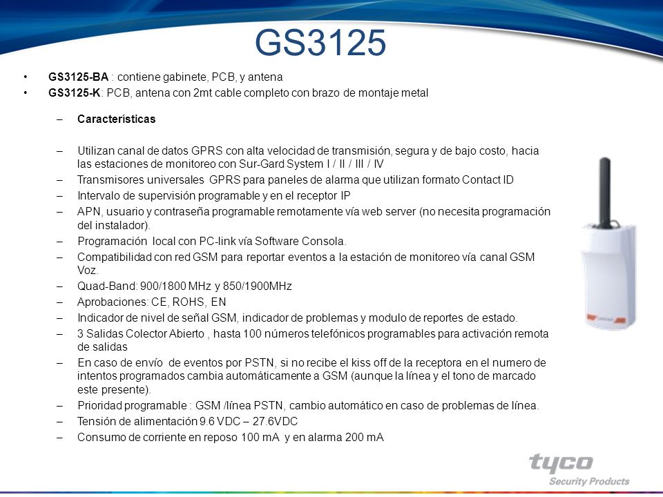GS3125 GS3125-BA : contiene gabinete, PCB, y antena