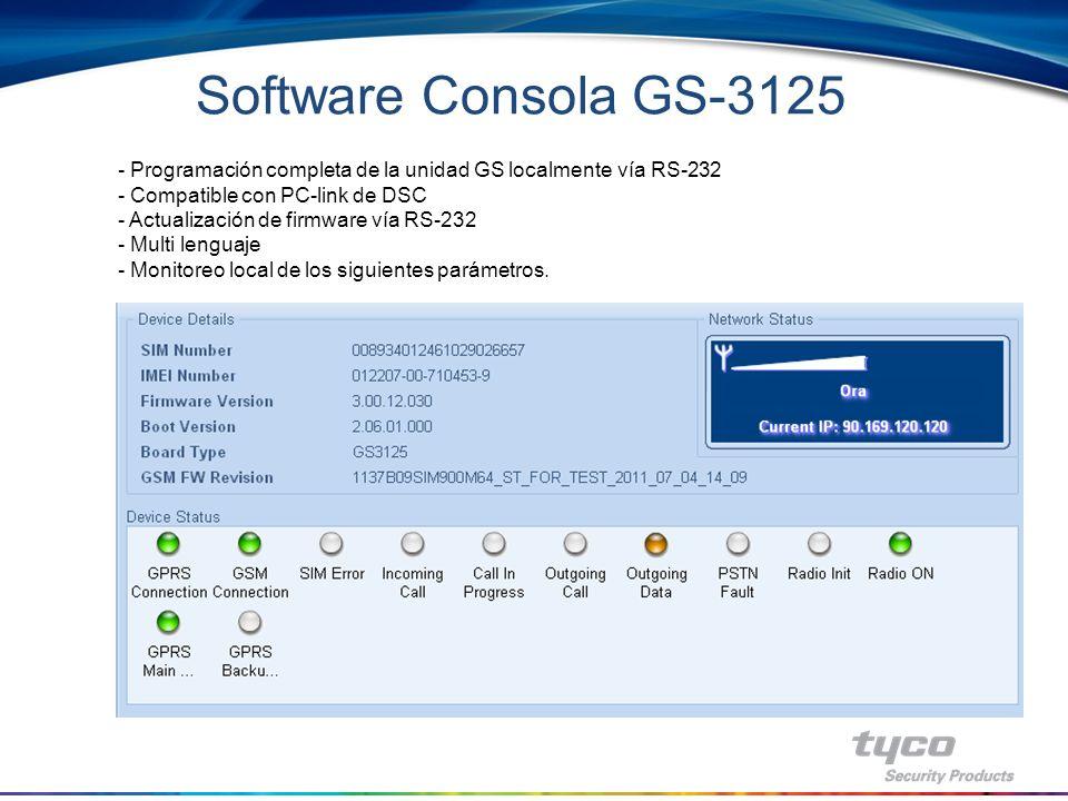 Software Consola GS-3125 Programación completa de la unidad GS localmente vía RS-232. Compatible con PC-link de DSC.