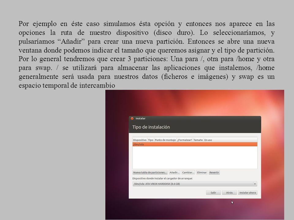 Por ejemplo en éste caso simulamos ésta opción y entonces nos aparece en las opciones la ruta de nuestro dispositivo (disco duro).