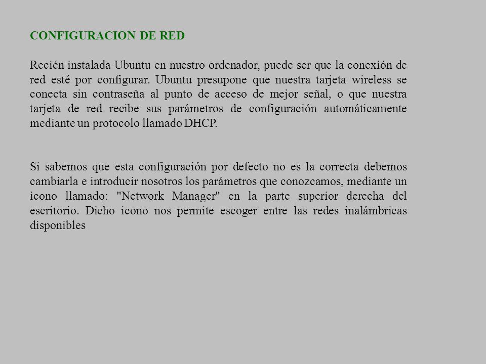 CONFIGURACION DE RED
