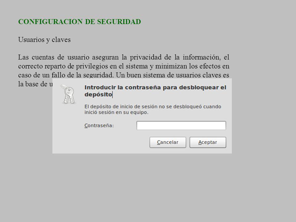 CONFIGURACION DE SEGURIDAD