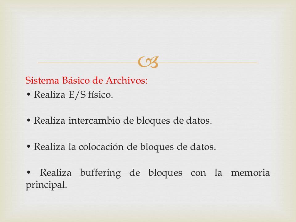 Sistema Básico de Archivos: • Realiza E/S físico