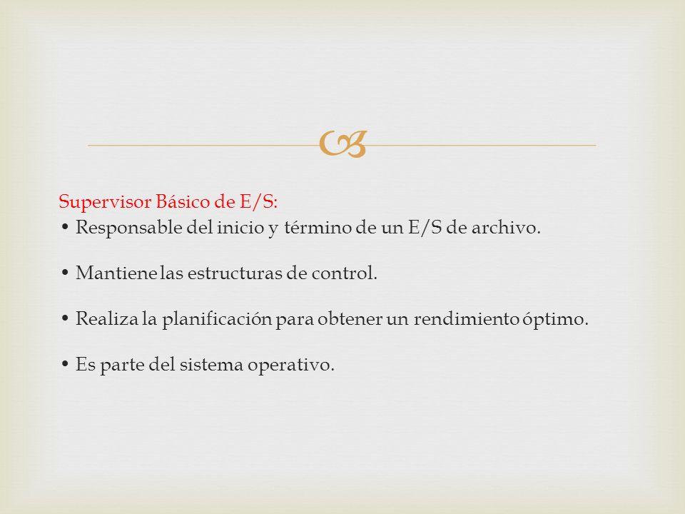 Supervisor Básico de E/S: • Responsable del inicio y término de un E/S de archivo.