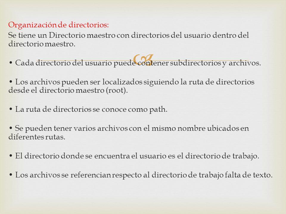 Organización de directorios: Se tiene un Directorio maestro con directorios del usuario dentro del directorio maestro.