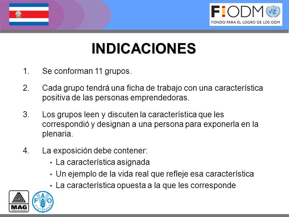 INDICACIONES Se conforman 11 grupos.