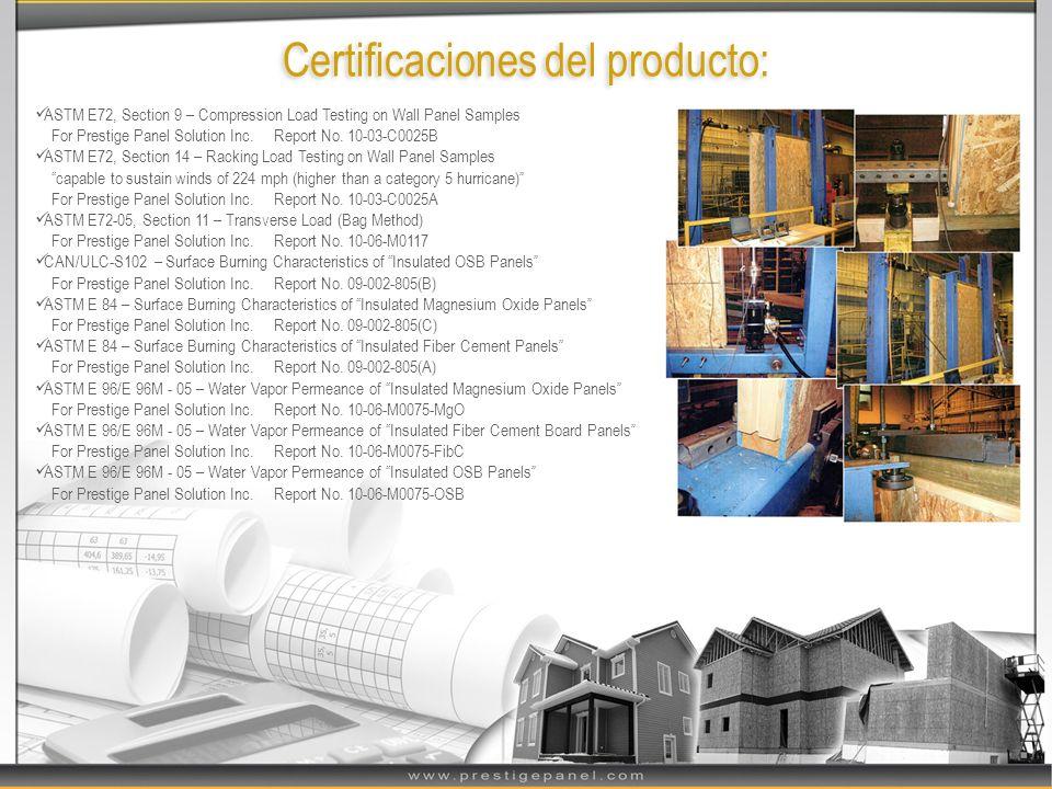 Certificaciones del producto: